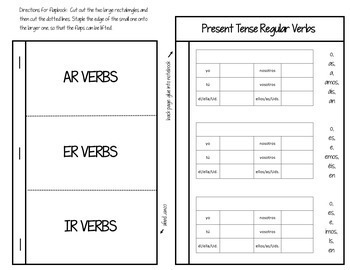 Spanish Interactive Notebook Verbs Flapbook (Regular Present Tense)