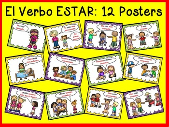 Spanish Verb ESTAR Posters and Worksheets/ Classroom Décor