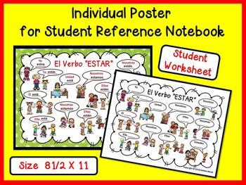 Spanish Verb ESTAR PowerPoint Presentation and Companion Worksheets