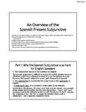 An Overview of the Spanish Present Subjunctive