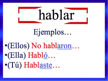 Spanish Preterite (Regular) Sentences Writing Powerpoint