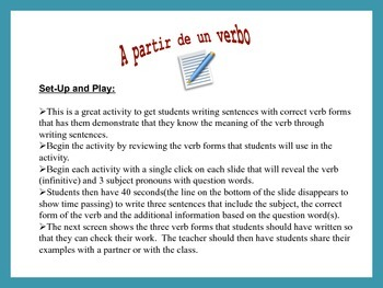 Spanish Verb Form and Sentence Writing Powerpoint Activities (16 Versions)