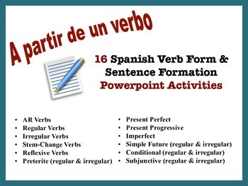 Spanish Verb Form and Sentence Writing Powerpoint Activiti