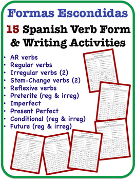 Spanish Verb Form and Writing Activities (15 Topics)