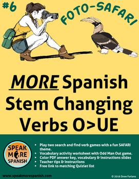 Spanish Verb Game  MORE Stem Changers O>UE *Más Verbos con cambios O>UE