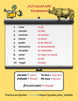 Spanish Verb Game  MORE Stem Changers O>UE *Más Verbos con cambios O>UE