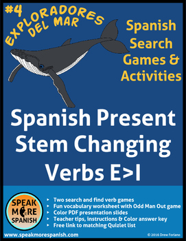 Spanish Verb Game for Stem Changing verbs E>I * Juego de verbos con cambios E>I