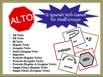 Spanish Verb Games for Small Groups (12 Versions)