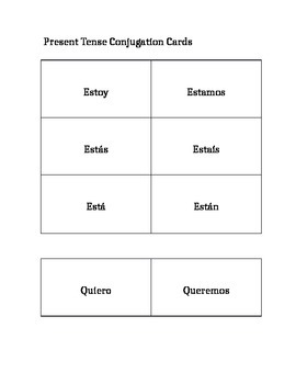 Spanish Verb Lesson and Materials
