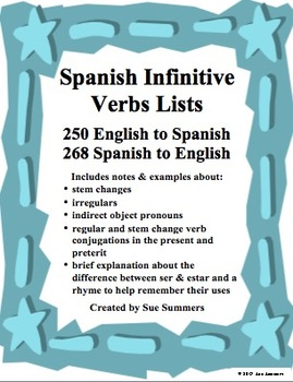 Spanish Verbs List Bundle 250 English to Spanish / 268 Spanish to English