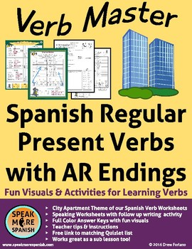 Spanish Verb Master for Regular AR Verbs. Verbos Regulares en el Presente
