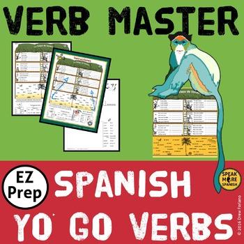 Spanish Verb Master for Irregular Present YO GO. Verbos Irregulares del Presente