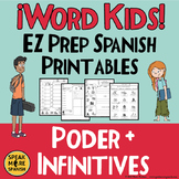 Spanish Verb PODER Printables for Elementary and Middle School Students.