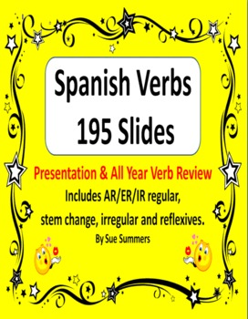 Spanish Verbs Presentation and All Year Verb Review - 195 Slides