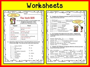 Spanish SER Posters and Worksheets/ Classroom Décor