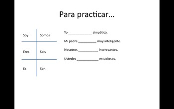 Spanish Verb SER present tense PowerPoint + 2 worksheets