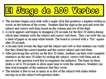 Spanish Regular Verbs (AR, IR, ER) Writing Activity (Powerpoint)