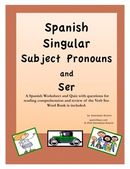 Spanish Verb Ser, Subject Pronouns and Professions