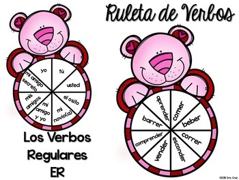 Spanish Verb Spinners:  Valentine's Day Edition
