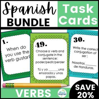 Spanish Verb Task Cards Bundle