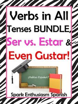 Spanish Verb Tenses / Present to Subjunctive, Ser vs. Estar & Even Gustar Book
