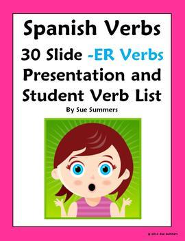 Spanish Verbs 30 ER Infinitives Presentation, Verb List an