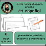 Spanish Verbs Comprehension Check: Presente o Pasado? 4 quick quizzes
