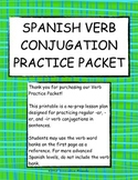 Spanish Verbs Conjugation Practice Printable Packet