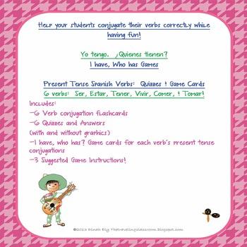 {FREE} Spanish Verbs :  Ser, Estar, Tener, Vivir, Comer, & Tomar