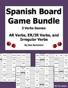 Spanish Verbs Game Board Bundle - AR Verbs, ER/IR Verbs, and Irregular Verbs