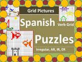 Spanish Verbs Grid Picture Puzzles