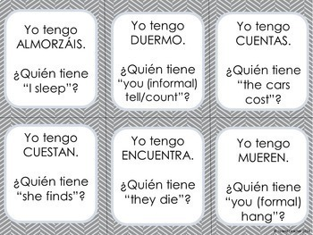 Spanish Verbs I have...who has...? Game BUNDLE