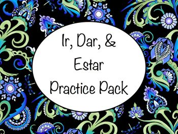 Spanish Ir, Dar, & Estar Worksheets Practice Set