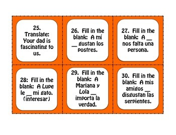 Spanish Verbs Like Gustar Task Cards