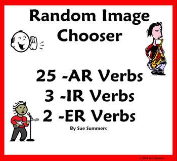 Spanish Verbs Random Image Chooser Game AR, ER & IR-Notebook