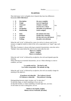 Spanish Verbs SER and ESTAR-Explanation and Exercises