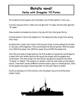 Spanish Verbs With Irregular YO Forms Battleship (Batalla naval)