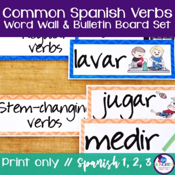 Spanish Verbs Word Wall & Bulletin Board Set