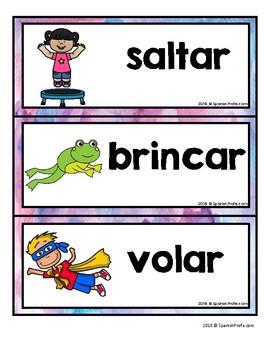 Spanish Verbs Word Wall (Pared de palabras verbos)