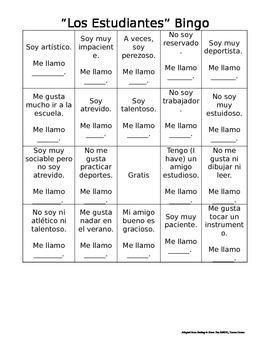 "Spanish Verbs and Adjectives ""Bingo"""