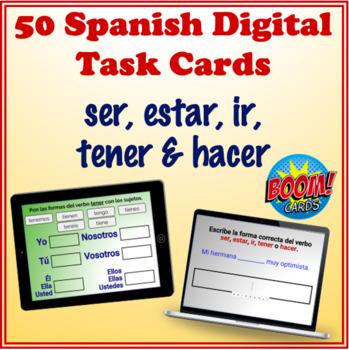 Spanish Verbs (ser, estar, ir, tener, hacer) Digital Task Cards (50 Boom Cards)