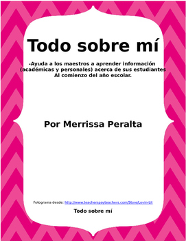 Spanish Version-All About Me-Student Get To Know You