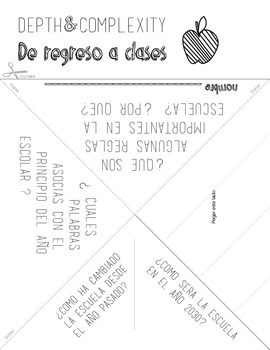 Spanish Version Back to School with Depth and Complexity