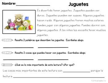 Spanish Version!  Emergent Reading Passages Using Text Based Evidence Responses