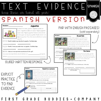 Spanish Reading Comprehension Passages and Questions | Text Evidence