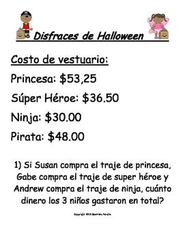 Spanish Version-Halloween Word Problems