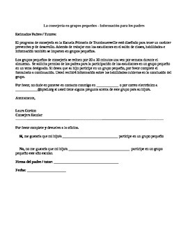 (Spanish Version) Lunch Group Permission Slip/Informational Letter to Parents