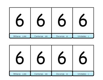 Place Value Chart Flip Book Spanish - (Millares, Centenas, Decenas, y Unidades)