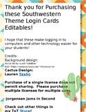 Spanish Version - Southwestern Theme Login Cards - EDITABLE