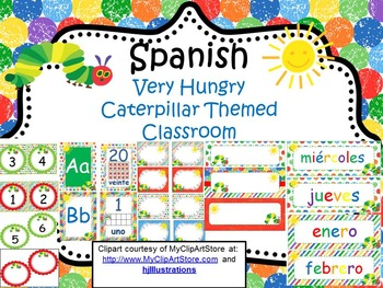 Spanish Very Hungry Caterpillar Classroom Decor